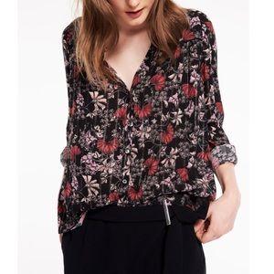 BA&SH Chemise Edgy Shirt in Black Floral
